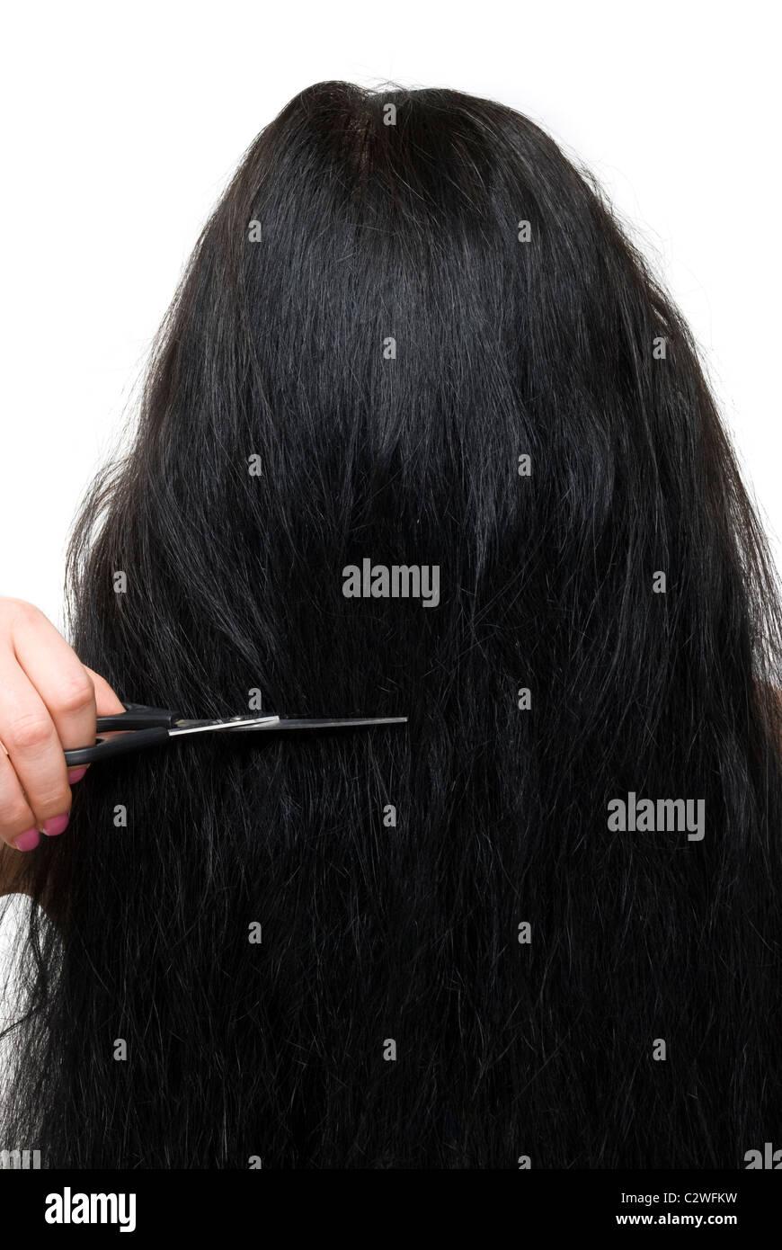 Nahaufnahme Von Hinten Brünette Frau Lange Haare Und Schere Im