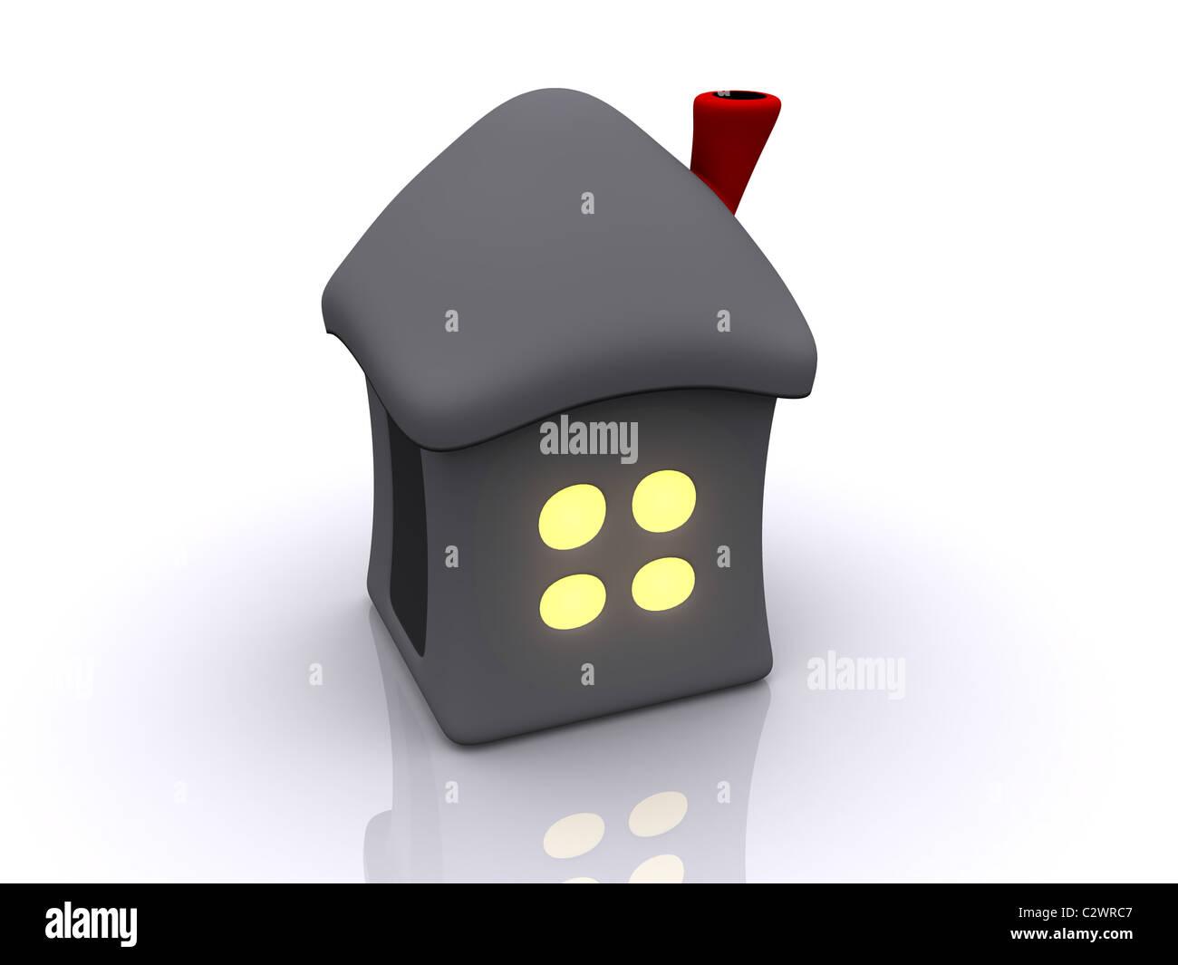 Haus mit Licht im Fenster. 3D Stockbild