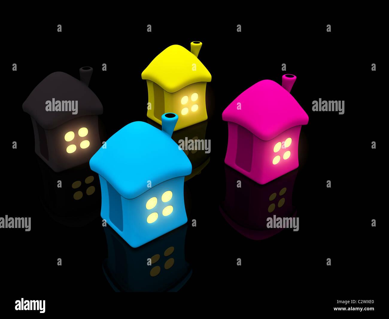CMYK-Häuser mit Licht im Fenster. 3D Stockbild