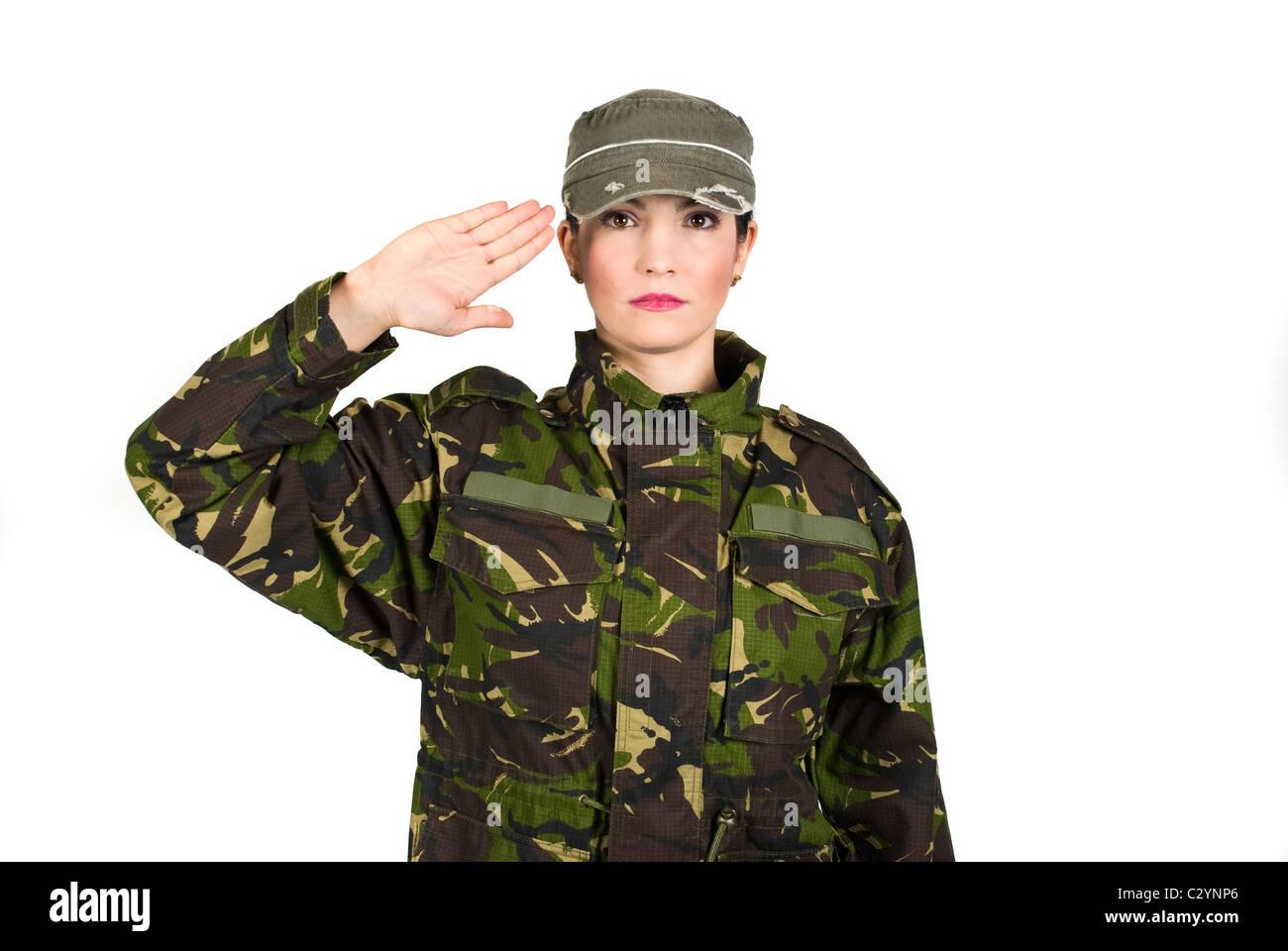 Frau Armee Soldaten salutieren isolierten auf weißen