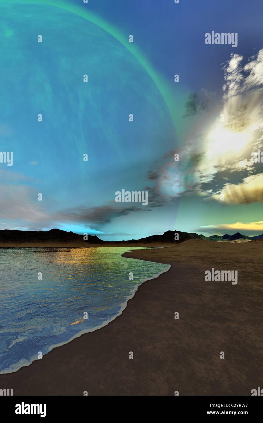 Schönen Himmel leuchten unten auf diesem kosmischen Seelandschaft. Stockbild