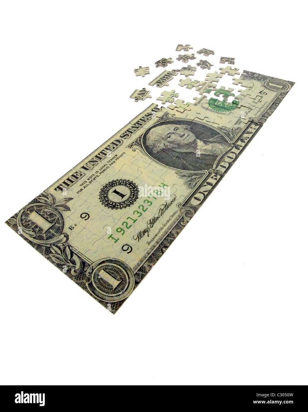 Dollar-Schein wie ein puzzle Stockbild