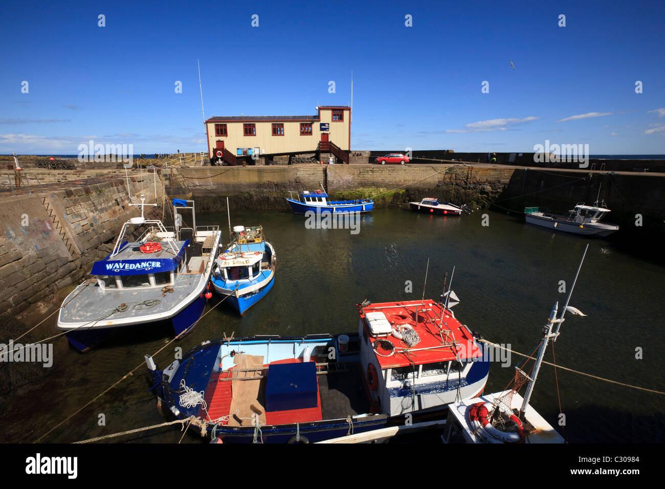 Die Rettungsstation und die Boote im Hafen von St. Abbs, Berwickshire. Stockbild