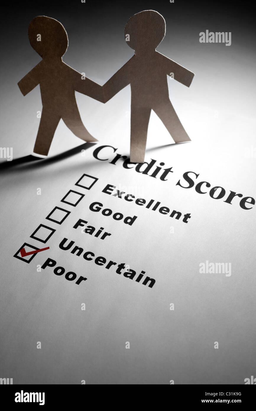 Kredit-Bericht und Papier Kette Menschen Stockfoto