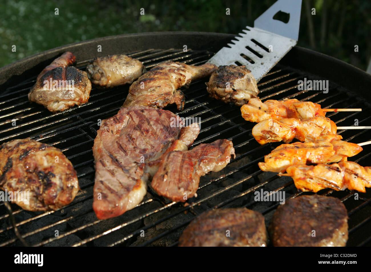 BBQ - Auswahl an Fleisch Stockbild