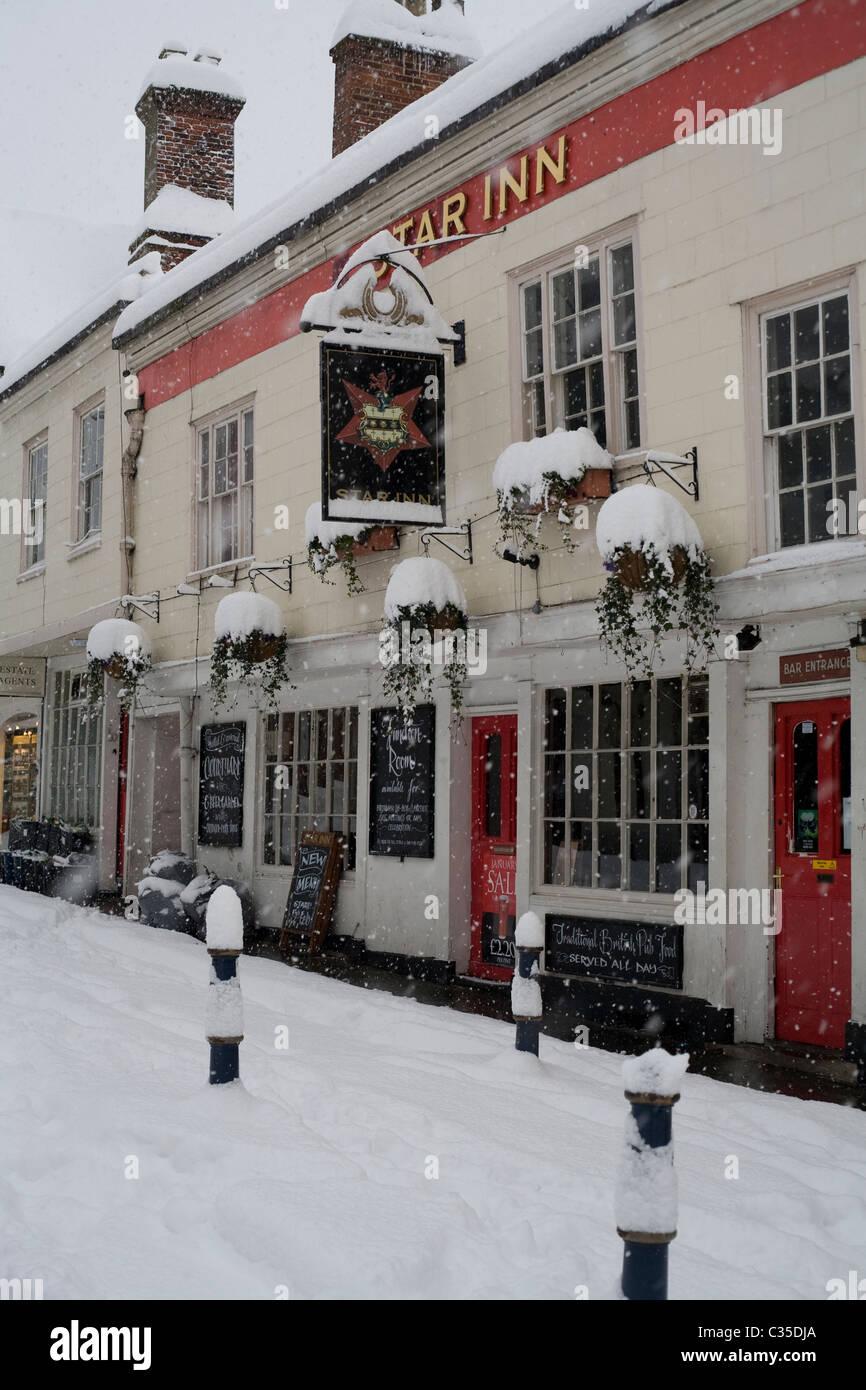 Schnee in Guildford Surrey Südengland Vereinigtes Königreich Stockbild
