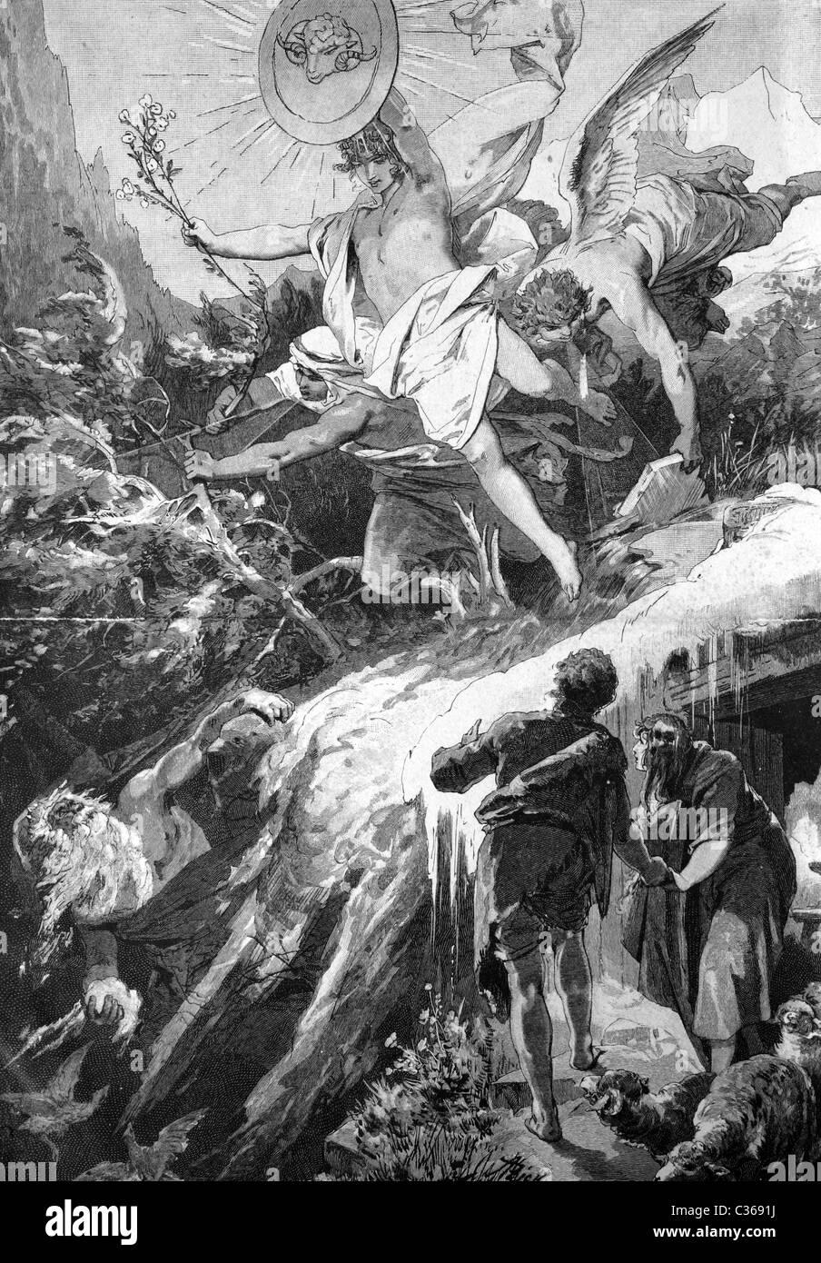 Historisches Bild eines Konzeptes zum Beginn des Frühlings, 1886 Stockbild