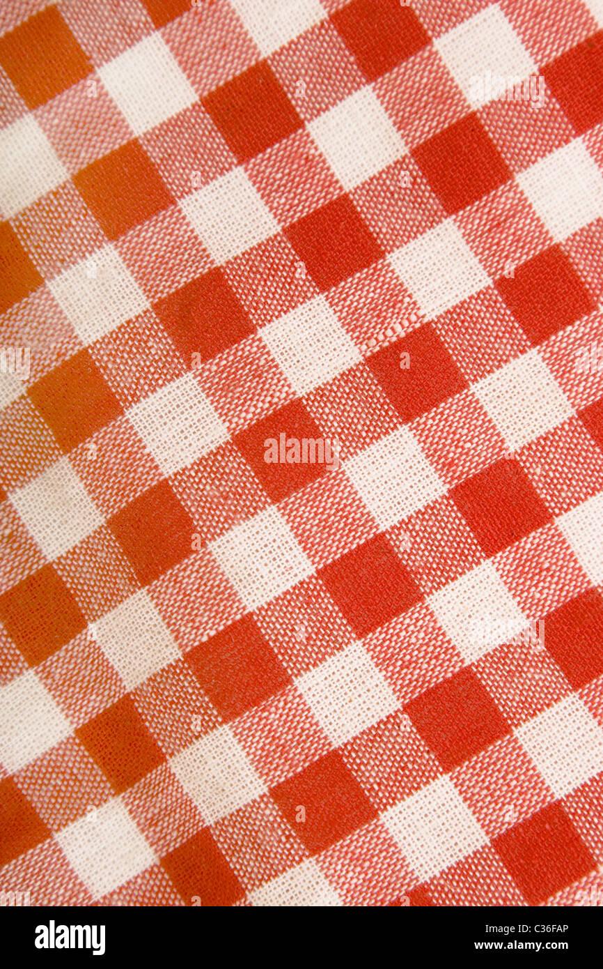 Baumwoll-Canvas mit Netz, rot und weiß Stockbild