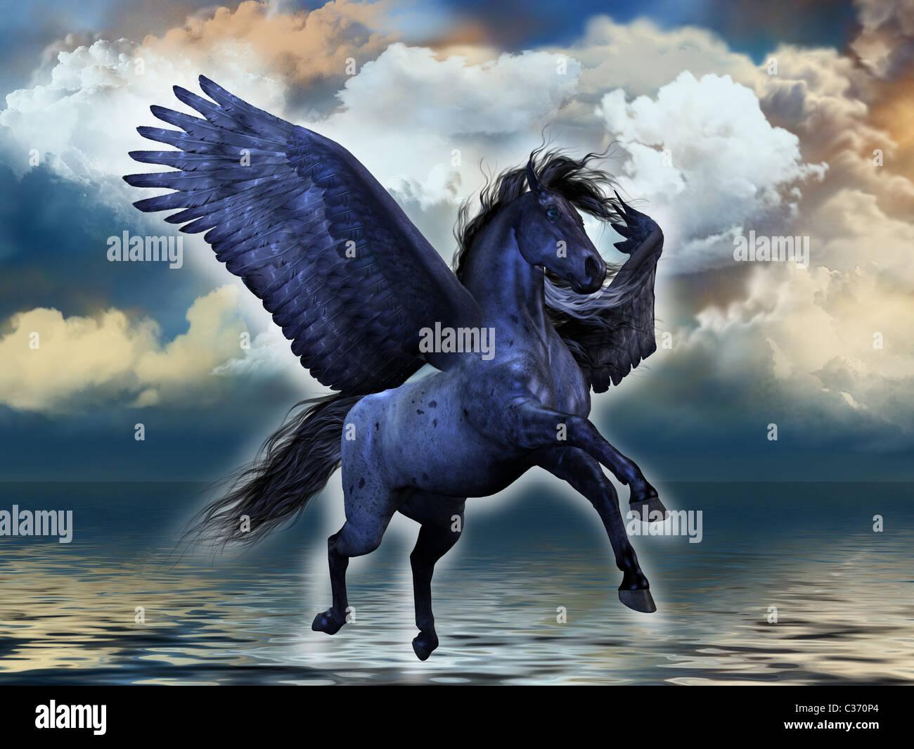 Ein schwarzer roan Pegasus Hengst leuchtet mit magischen Kräften. Stockbild