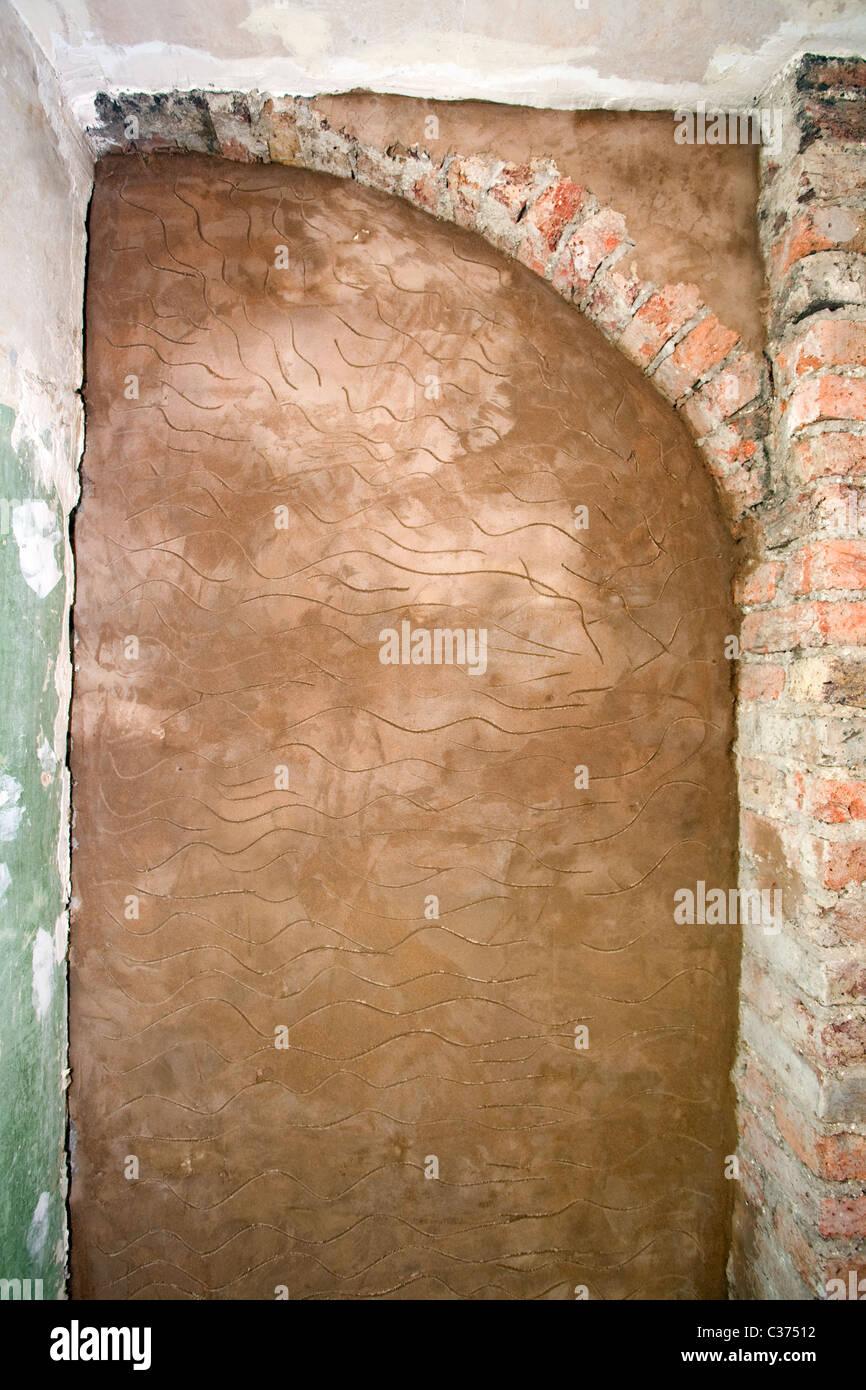 Mörtel Trocknen Auf Mauer Vor Dem Verputzen. Stockbild