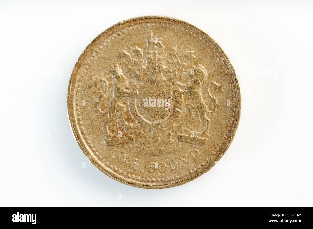 Gefälschte Große Britische Pfund Sterling Ein Pfund Münzen Stockfoto
