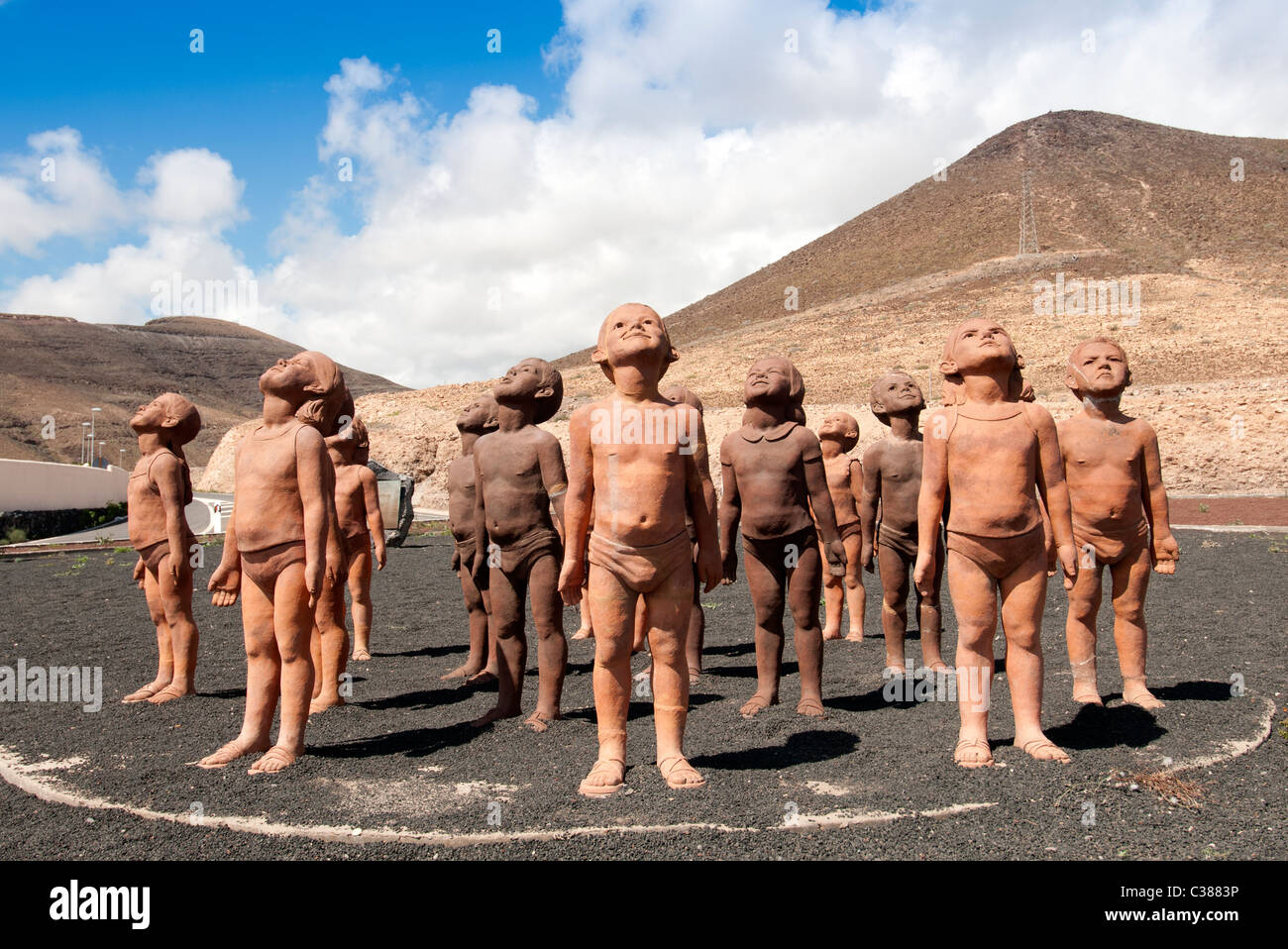 Lehm-Größen auf einen Kreisverkehr in Morro Jable Fuerteventura Kanarische Inseln Stockbild
