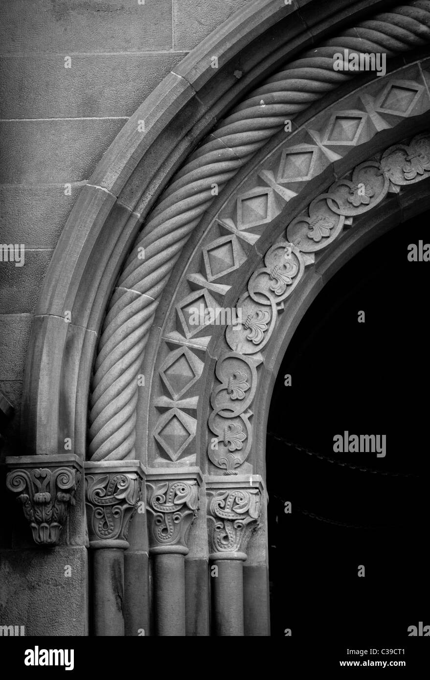 Architektonisches Detail aus dem Smithsonian Castle auf der National Mall in Washington, DC Stockbild