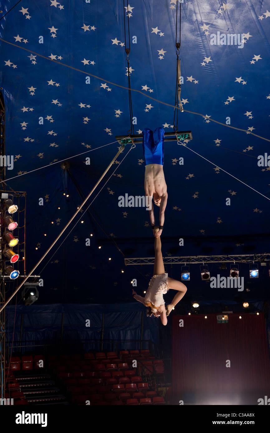 Zirkus Trapezkünstler Stockbild