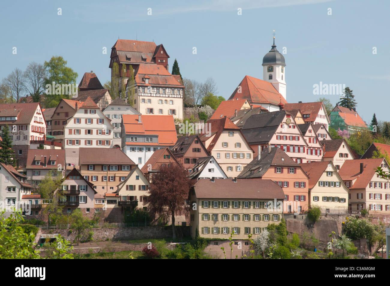 Blick Auf Den Historischen Stadtkern von Altensteig, Schwarzwald, Landkreis Calw, Baden-Württemberg, Deutschland Stockbild