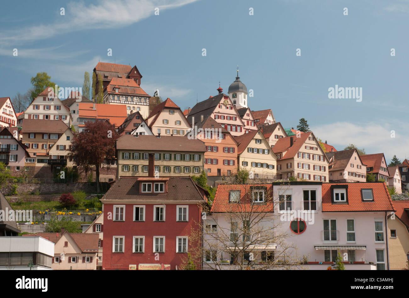Stadtbild Ansicht Altensteig, Schwarzwald, Baden-Württemberg, Deutschland Stockbild