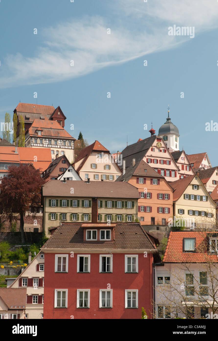 Stadtansicht von Altensteig, Nagoldvalley, Schwarzwald, Baden-Württemberg, Deutschland Stockbild