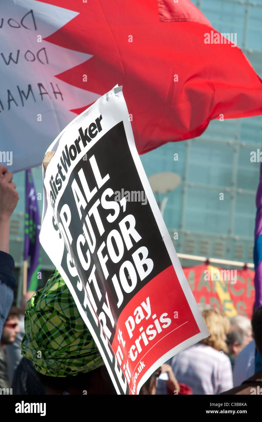 Socialist Worker Plakat zur Maikundgebung, Manchester. Stockbild