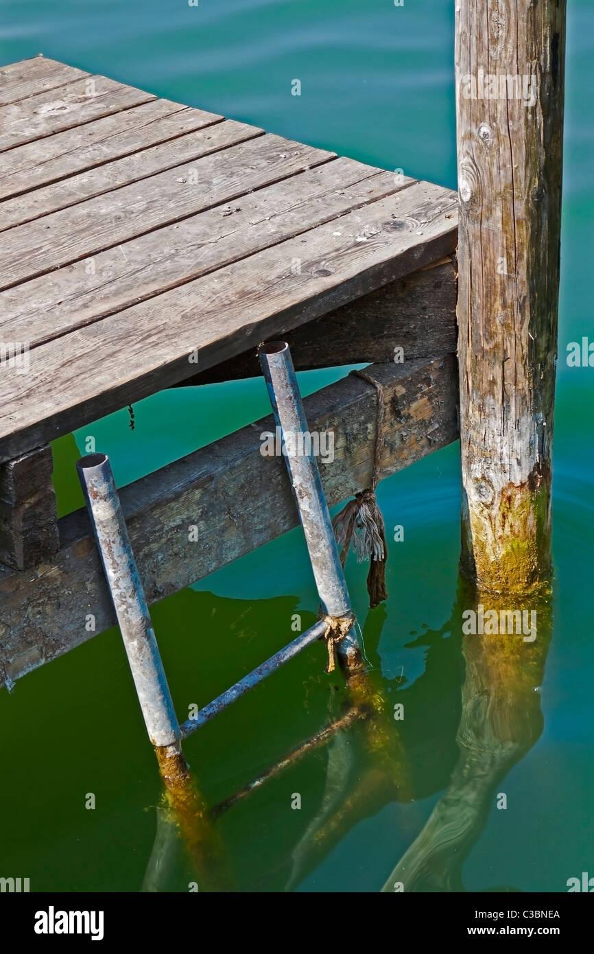 Leiter in den See Stockbild