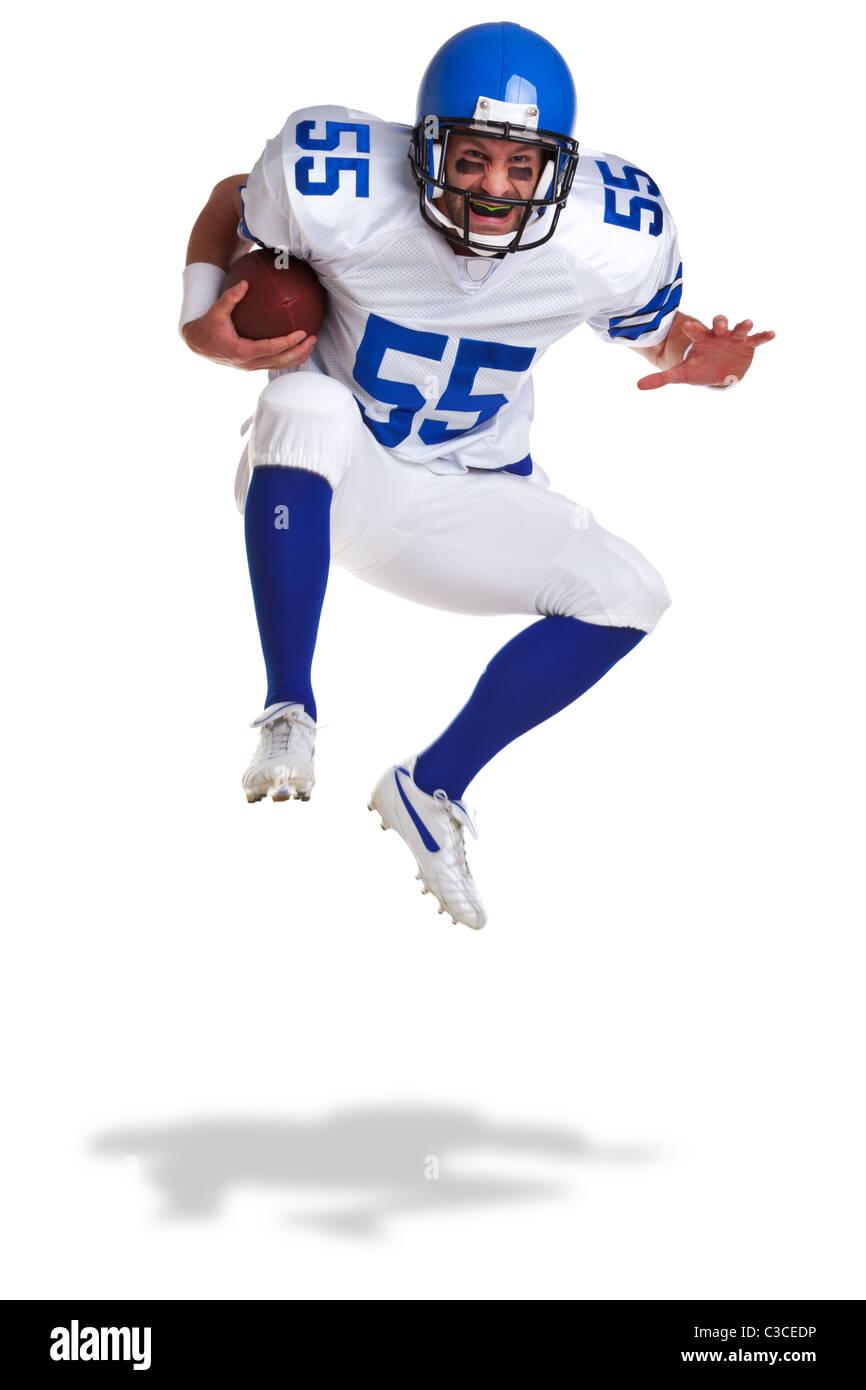 Foto von einem American Football-Spieler, auf einem weißen Hintergrund ausschneiden. Stockbild