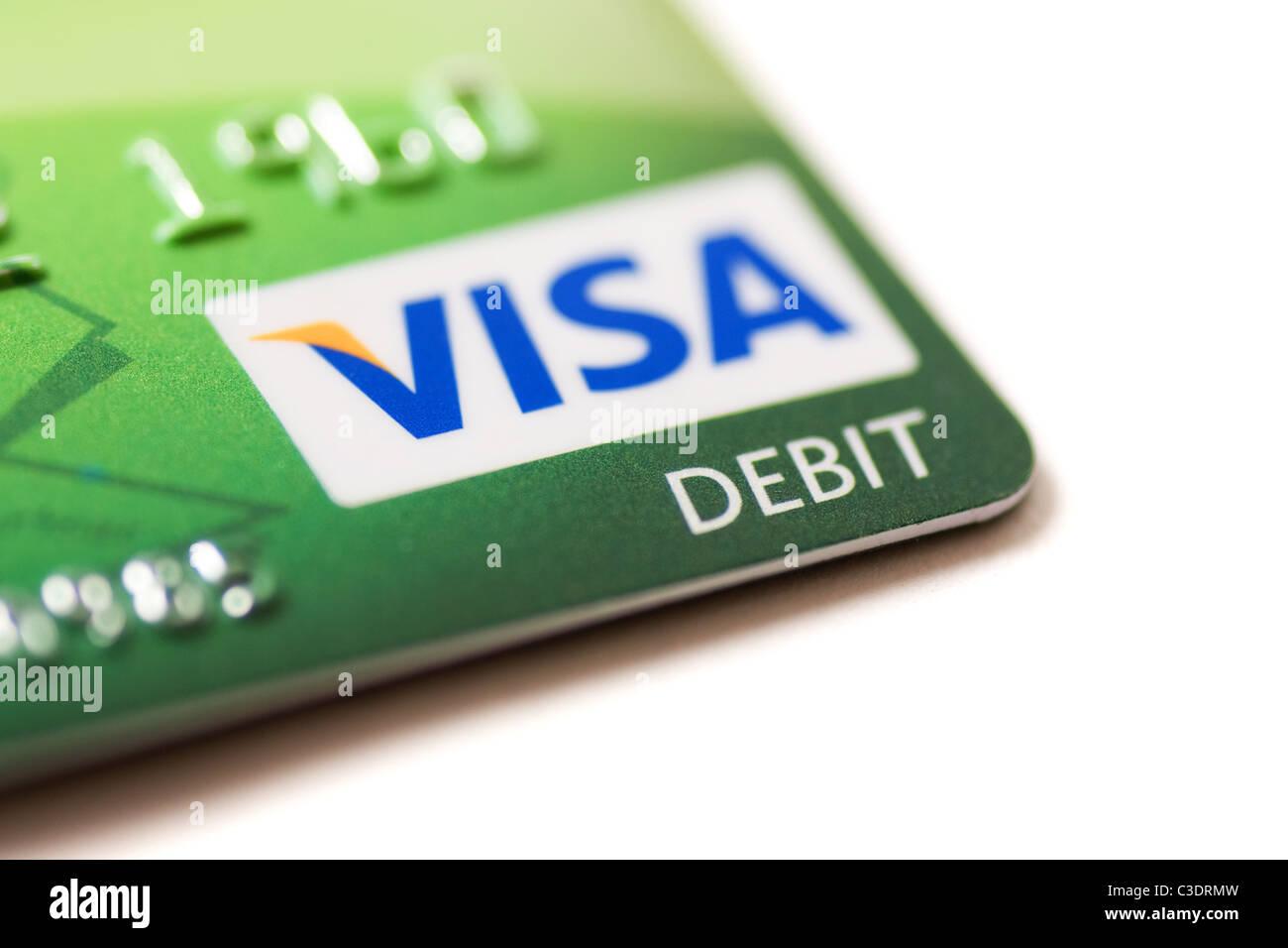 Detail einer Lloyds TSB Visa-Debitkarte hautnah Stockbild