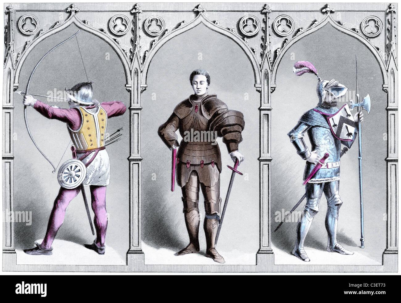 Militärische Kostüm aus dem fünfzehnten Jahrhundert (Vintage-Gravur) Stockbild