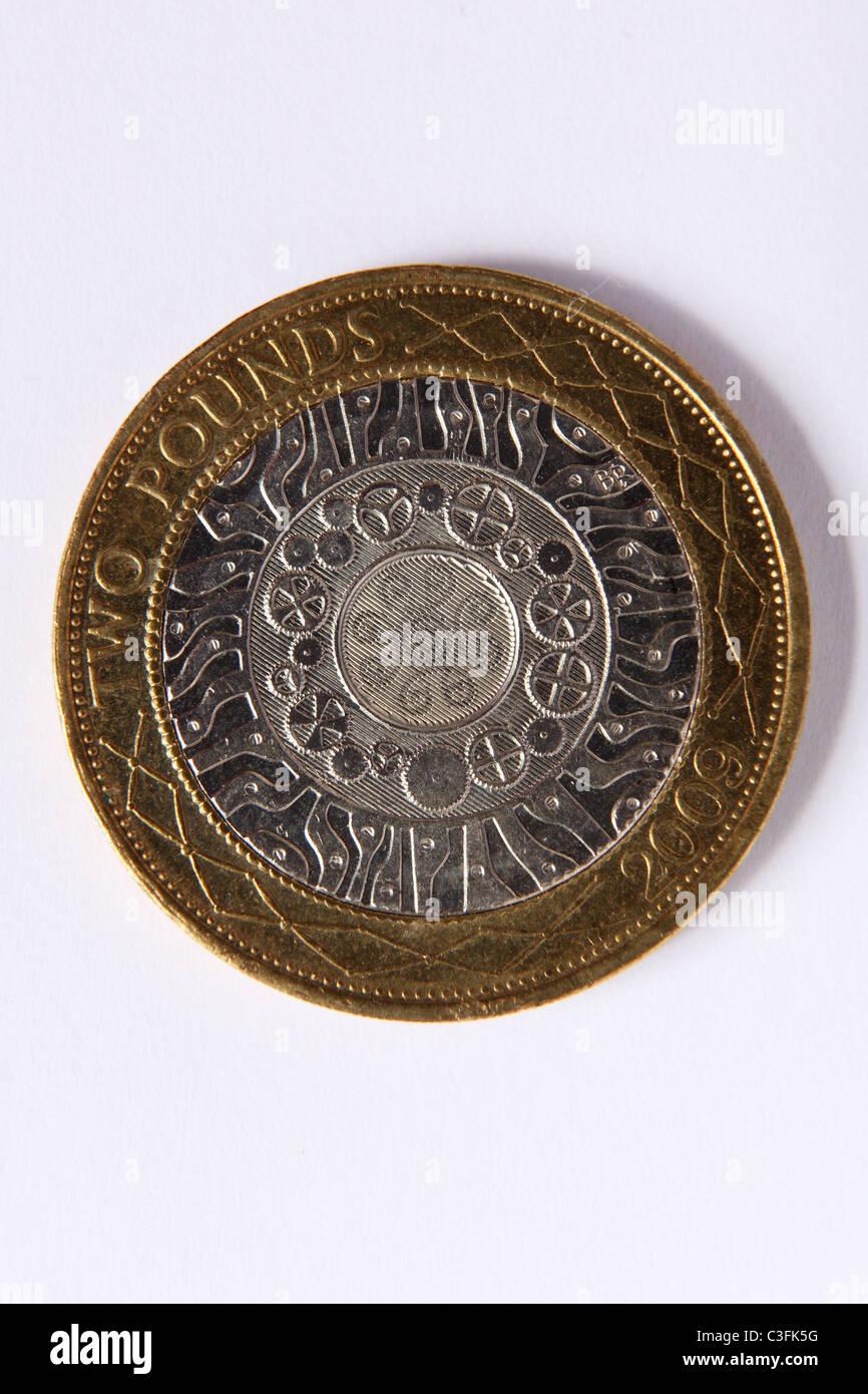 Die Rückseite Einer Britischen Zwei Pfund Münze Stockfoto Bild