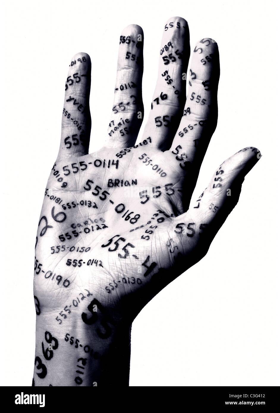 Hand mit Zahlen Stockbild