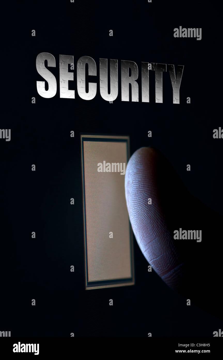 Konzept Für Moderne Sicherheitssysteme Mit Closeup Fingerabdruck  Scan Technologie Stockbild