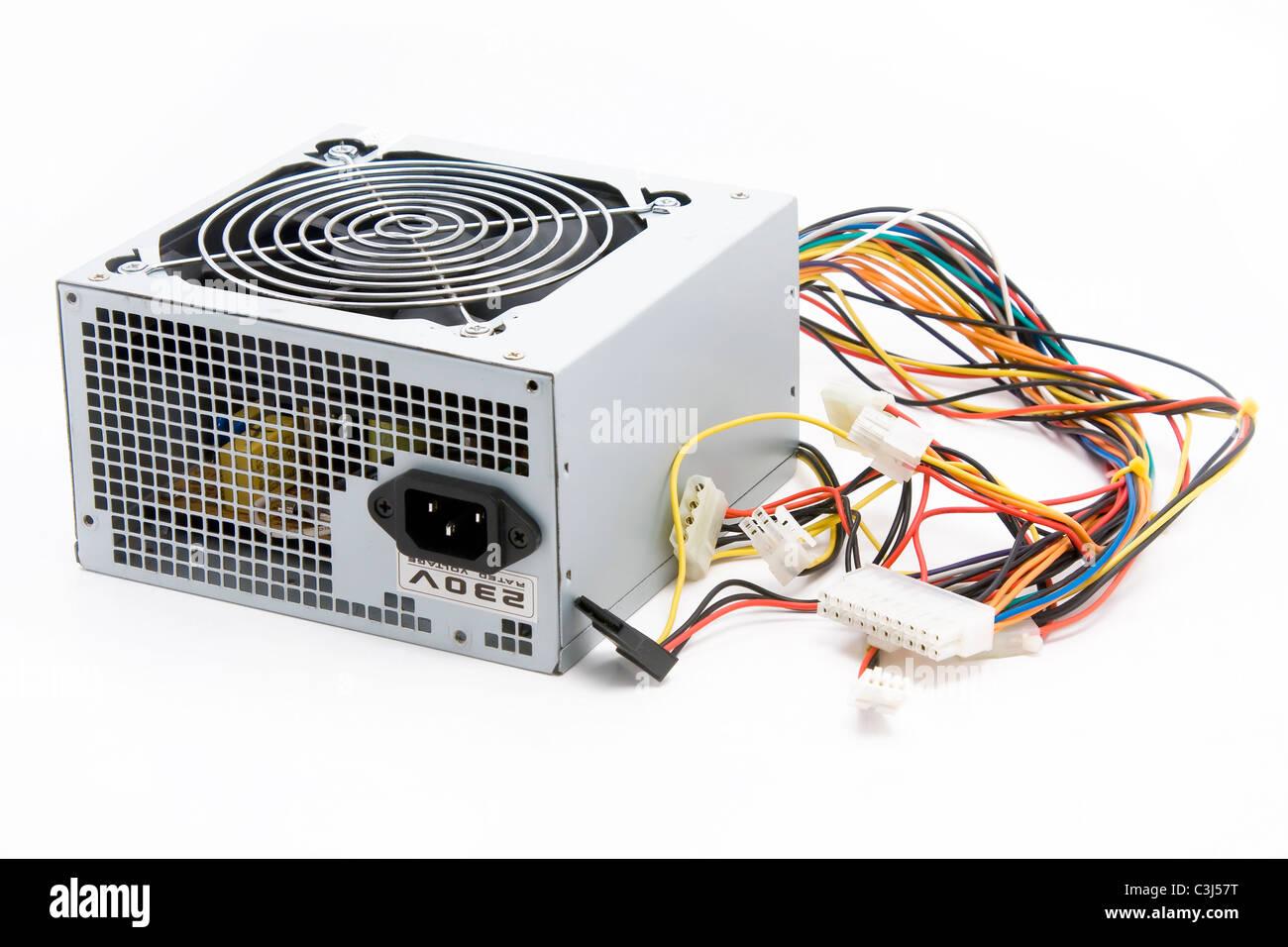 Computer-Netzteil auf weißem Hintergrund Stockbild