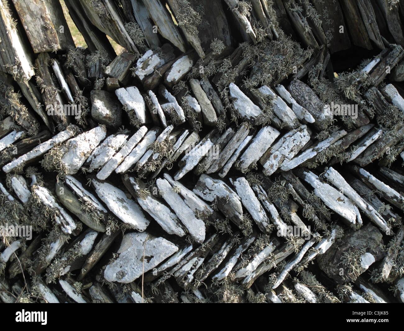 Kornische Herring-Bone Steinmauer, Tintagel, Cornwall, März Stockbild