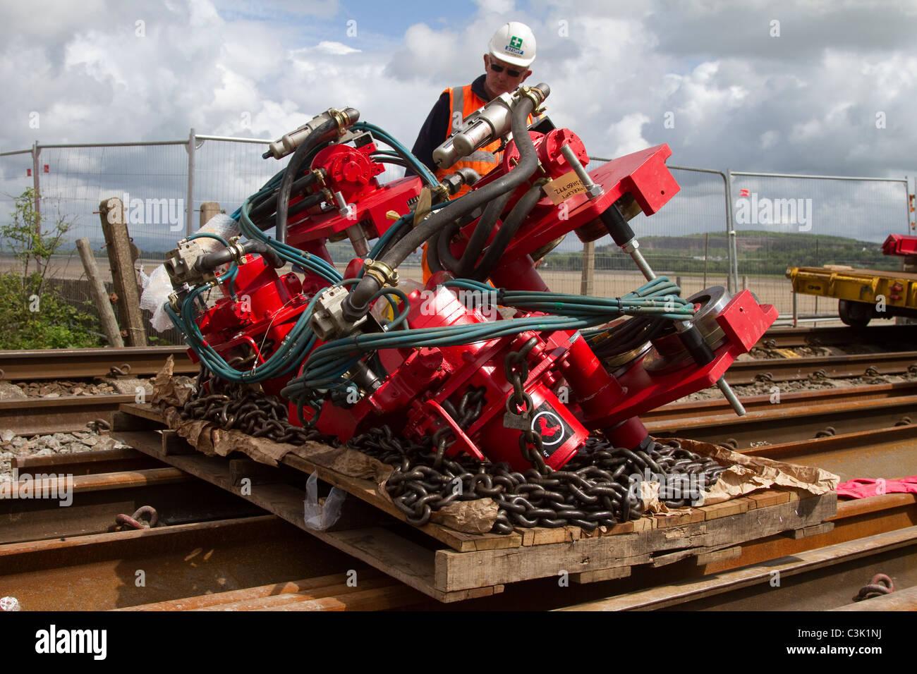 Network Rail die strukturellen Verbesserungen, Gleiserneuerung, Brücke, Reparaturen & Infrastruktur Verbesserungen Stockbild