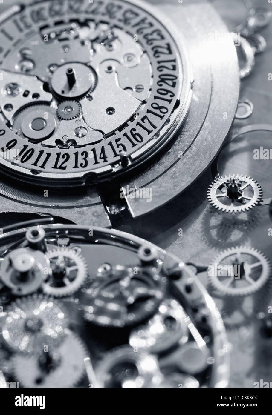 Innenteile der Uhr, Nahaufnahme Stockbild