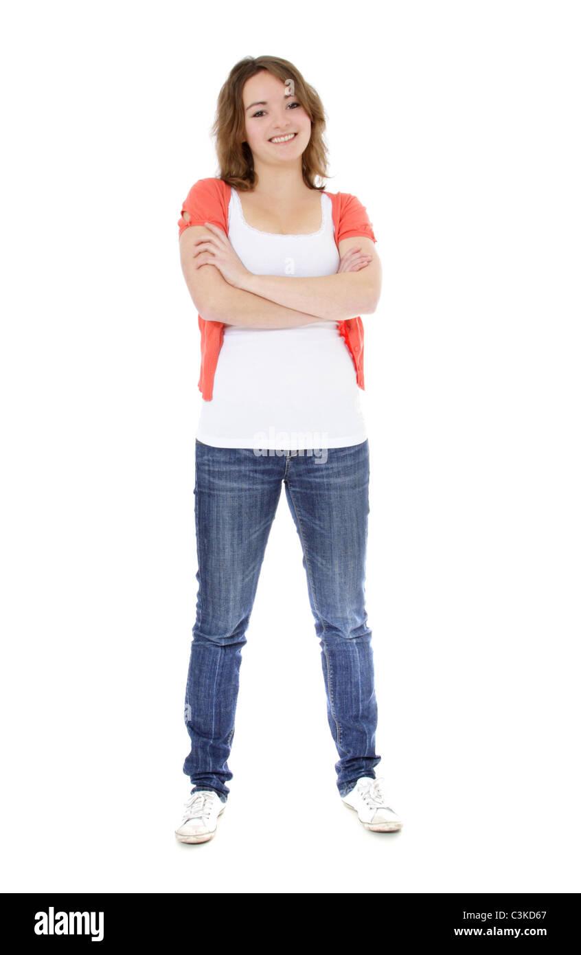 Attraktive junge Frau. Alle auf weißem Hintergrund. Stockbild