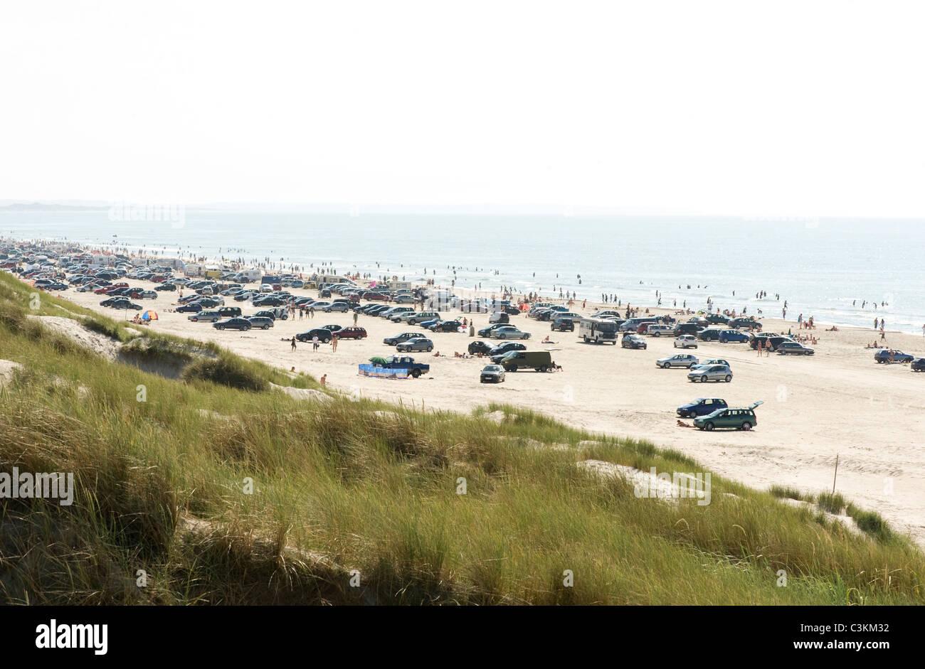 Autos parken am Strand Stockbild