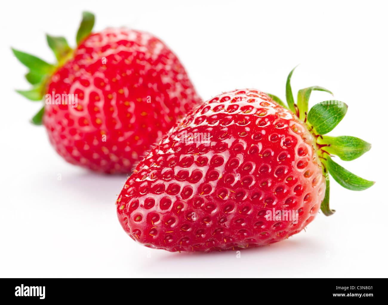 Appetitliche Erdbeere. Isoliert auf weißem Hintergrund. Stockbild