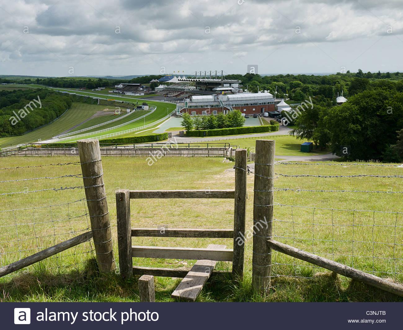 Goodwood Race Course von der Trundle Stockbild