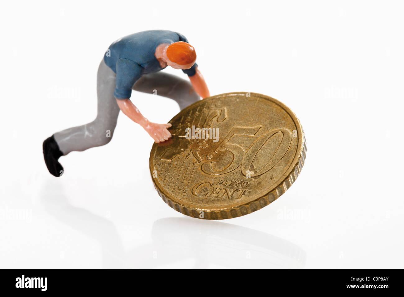 Arbeiter Figur Die 50 Cent Euro Münze Rollen Stockfoto Bild