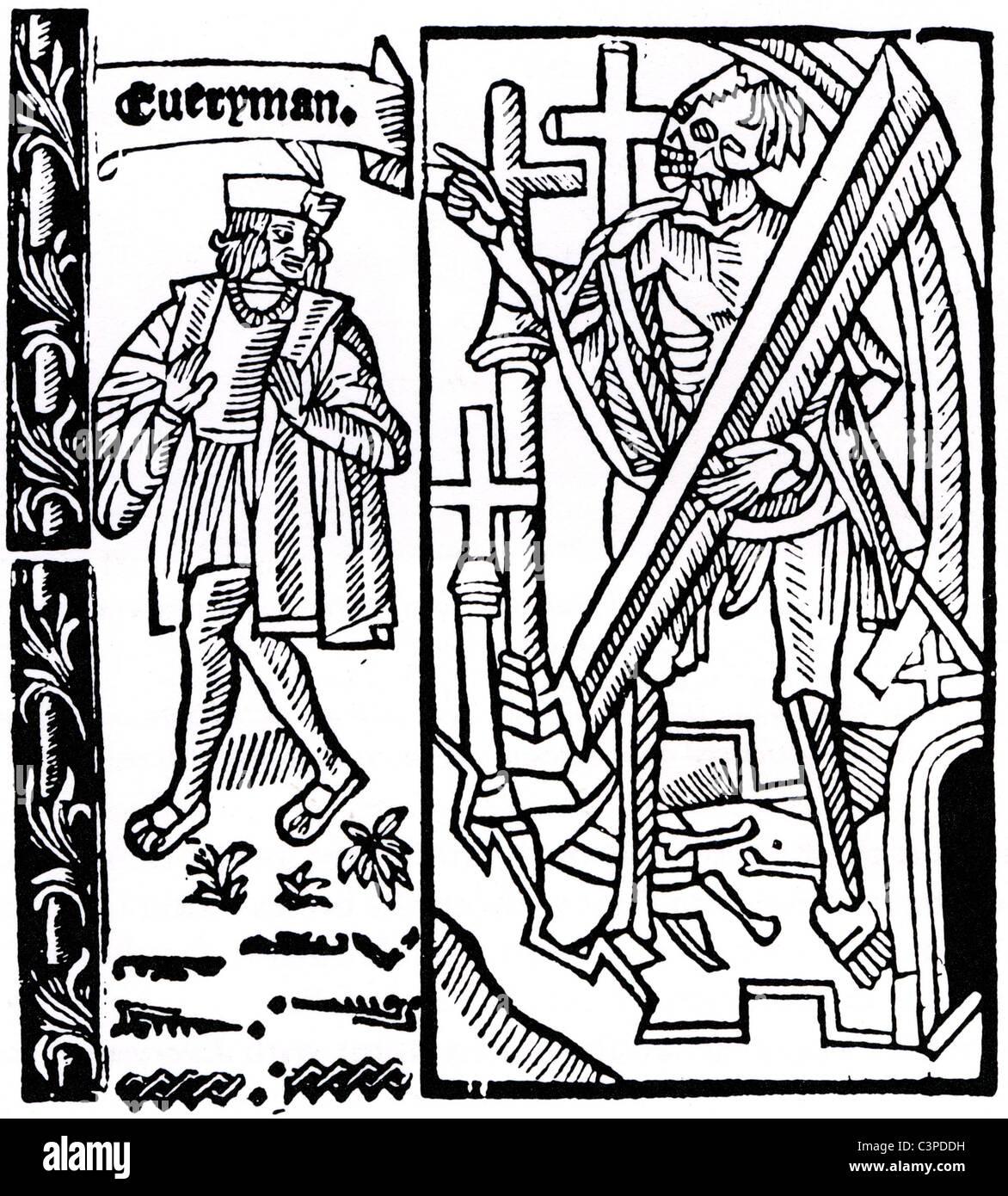 EVERYMAN-Holzschnitt von Titelseite 1530 Ausgabe des mittelalterlichen Moralstück Stockbild