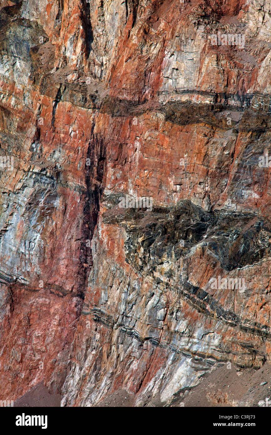 Detail der Basalt, ein vulkanisches Gestein gefunden auf Herz Berg, Uummannaq, Nord-Grönland, Grönland Stockbild