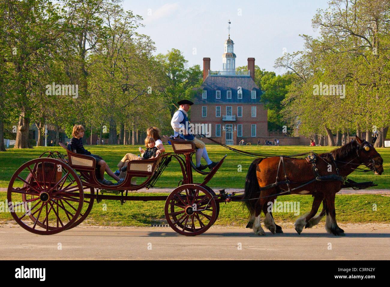 Gouverneurspalast in Colonial Williamsburg, Virginia Stockbild