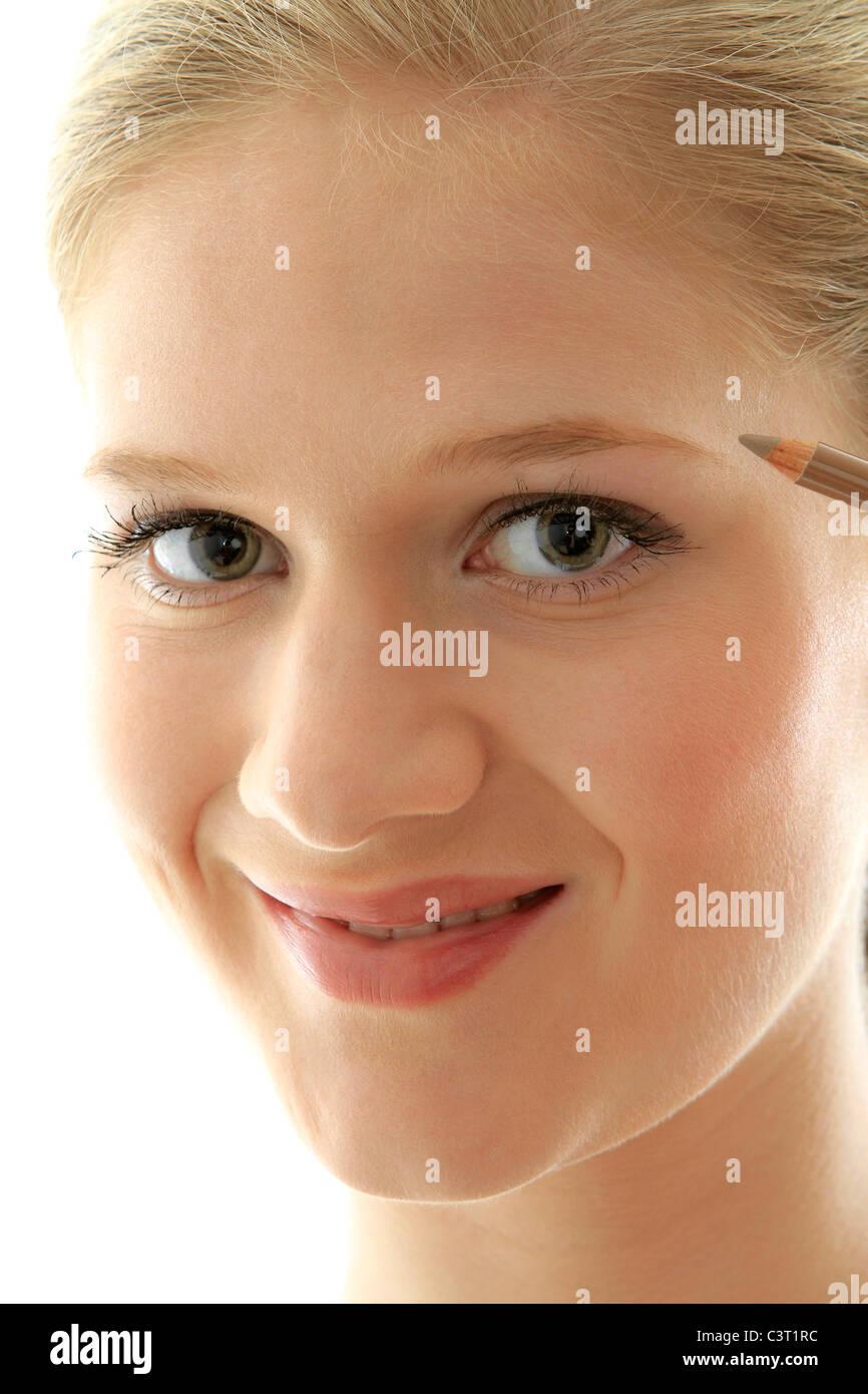 Closeup Portrait eines hübschen jungen Mädchens Lidstrich Stockbild