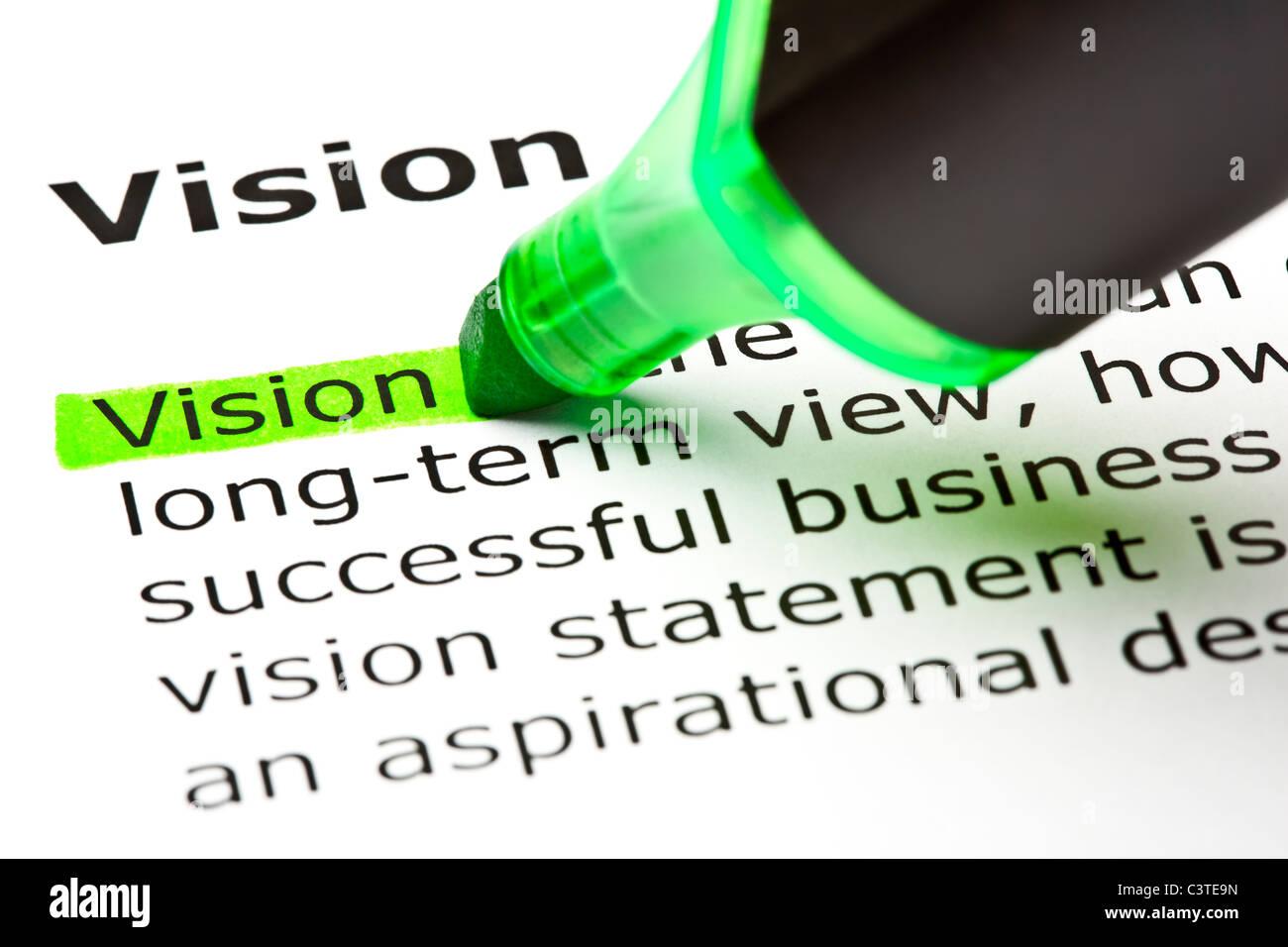 """Das Wort """"Vision"""" markiert in grün mit Filzstift Tipp Stockbild"""
