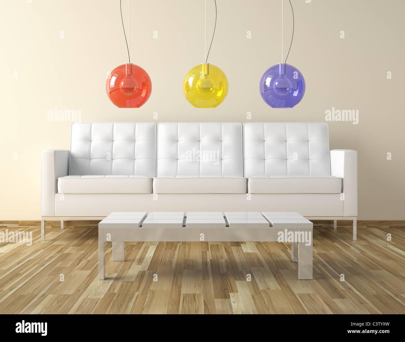 Interior Design für ein modernes Zimmer mit weißem Leder Couch und ...