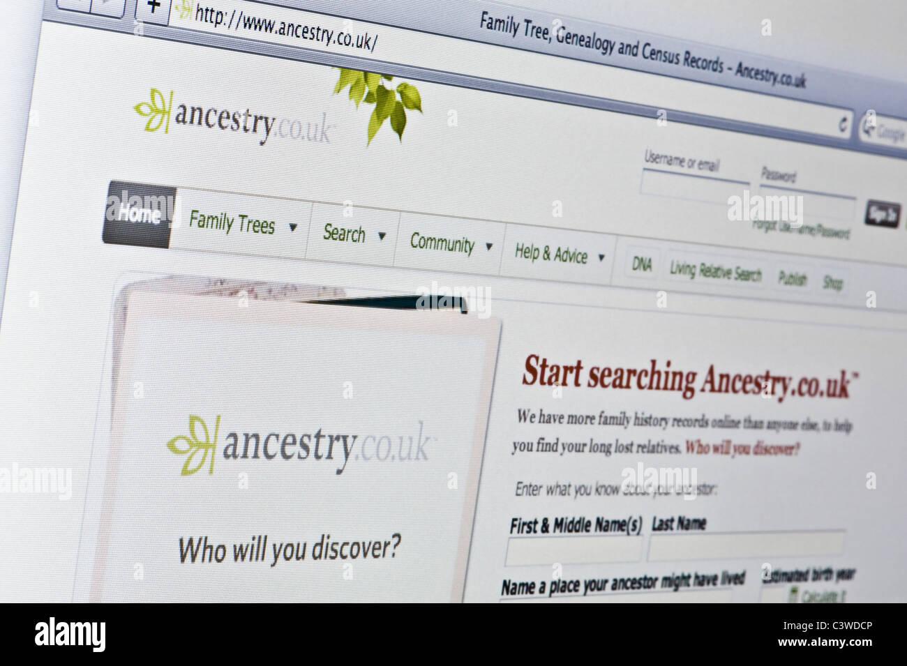 Nahaufnahme von Ancestry-Logo auf ihrer Website gesehen. (Nur zur redaktionellen Verwendung: print, TV, e-Book und Stockbild