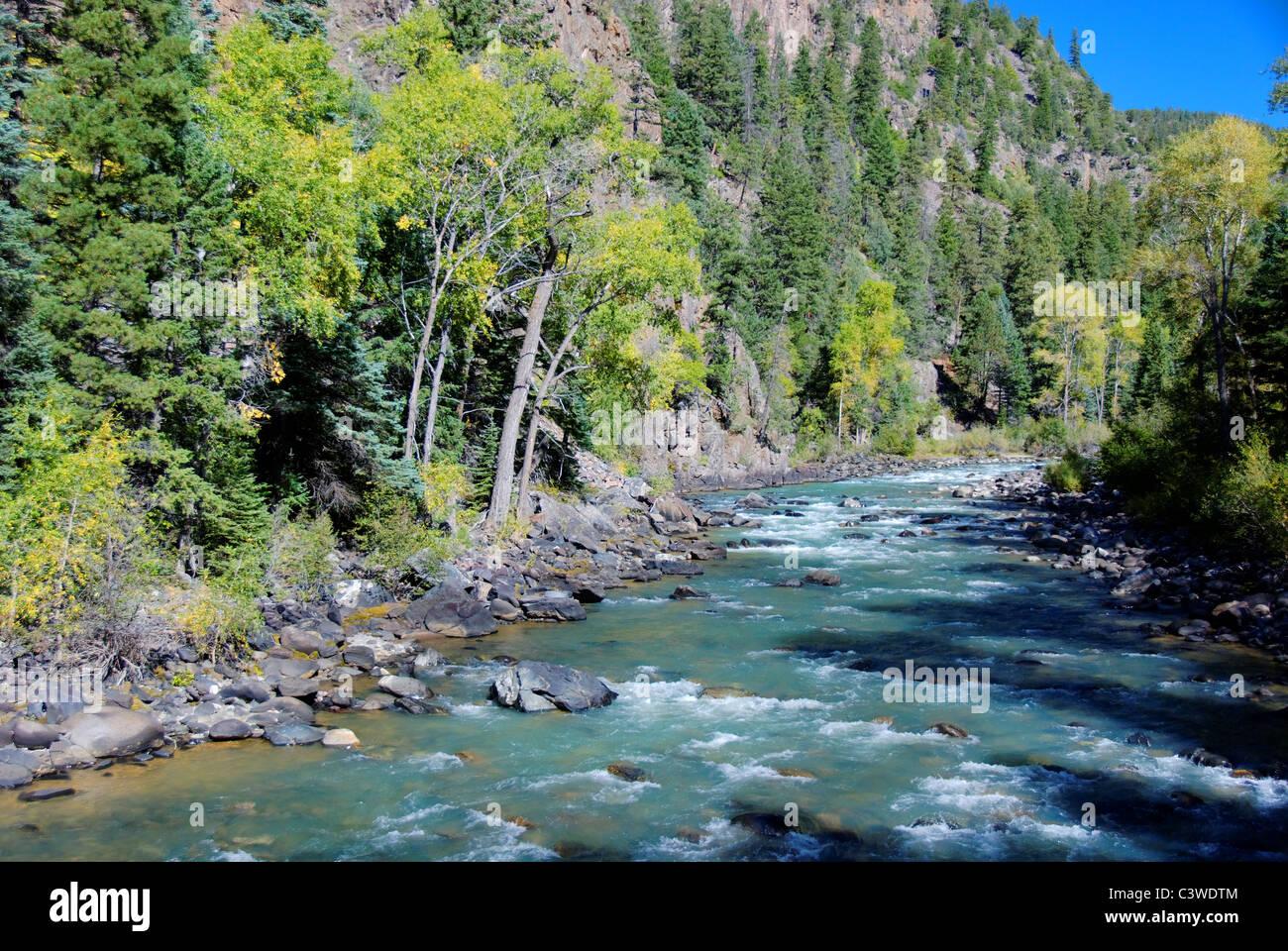 Animas River (Fluss der verlorenen Seelen), zwischen Durango und Silverton, Colorado, USA - von der Durango & Stockbild
