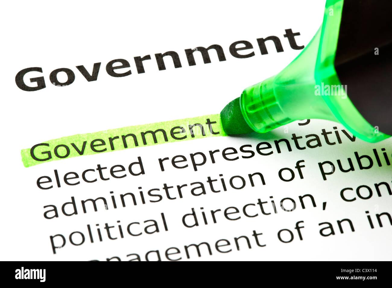"""Das Wort Filzstift """"Regierung"""" markiert in grün mit Spitze Stockbild"""