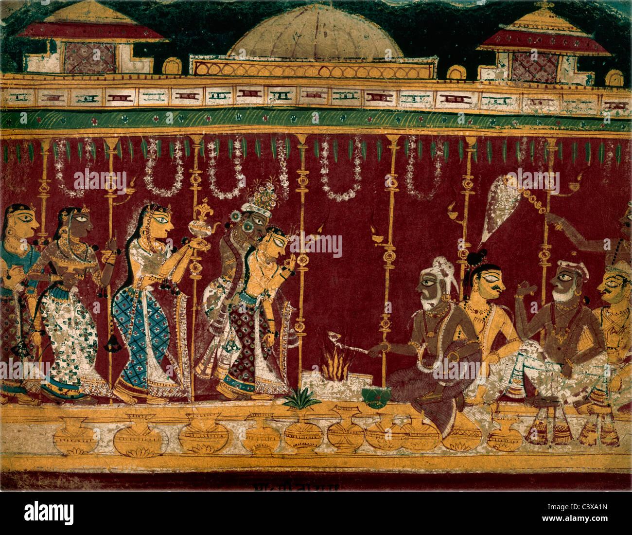 Ehe der Eltern Krishnas. Indien, 1525 Stockbild