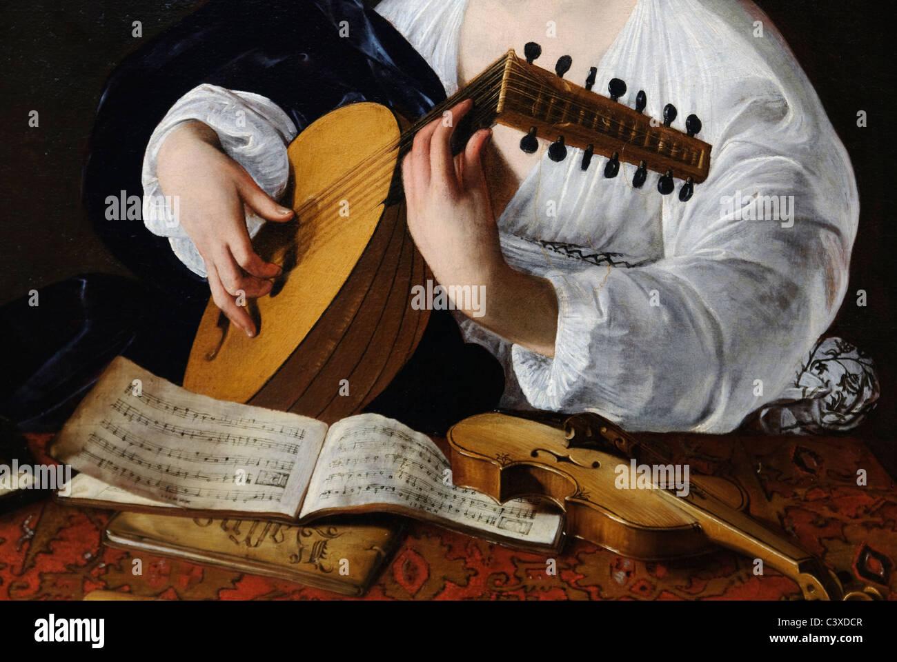 Detail: Der Lautenspieler, wahrscheinlich ca. 1597, von Caravaggio Stockbild