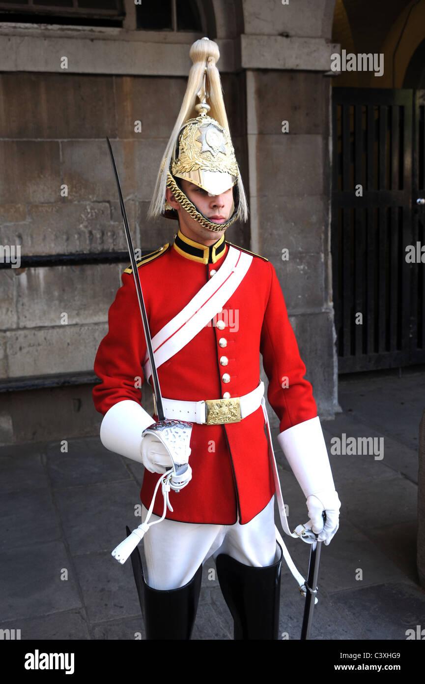Ein Kavallerie-Soldat der die Leibgarde der Household Cavalry auf der Parade. Stockbild